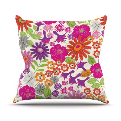 Lula by Jacqueline Milton Throw Pillow Size: 26 H x 26 W x 5 D, Color: Pink/White