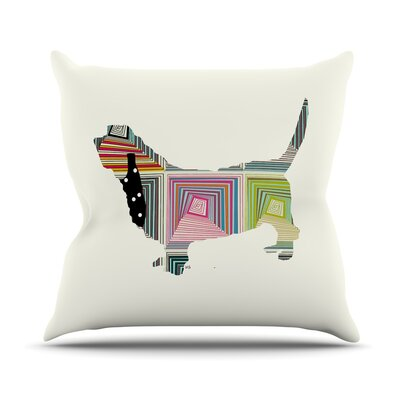 Basset by Bri Buckley Rainbow Throw Pillow Size: 16 H x 16 W x 1 D