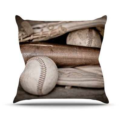 Play Ball by Debbra Obertanec Baseball Throw Pillow Size: 26 H x 26 W x 1 D