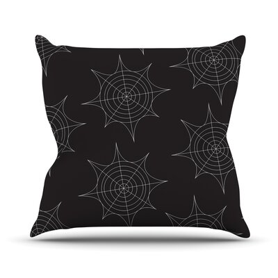 Spiderwebs Throw Pillow Size: 16 H x 16 W x 3 D, Color: Black