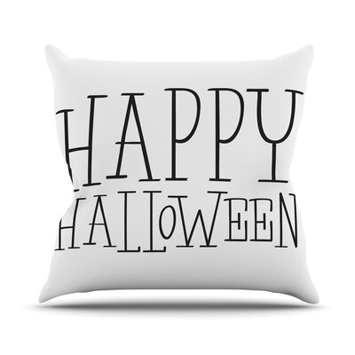 Happy Halloween Throw Pillow Size: 26 H x 26 W x 5 D, Color: White