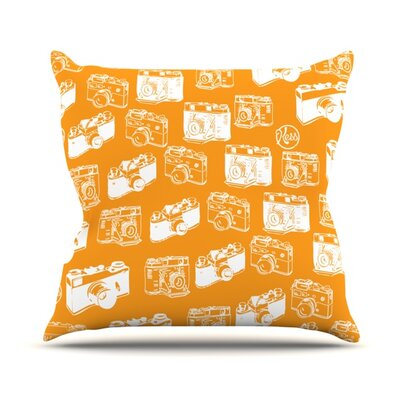 Camera Pattern Throw Pillow Size: 20 H x 20 W 4.5 D, Color: Orange