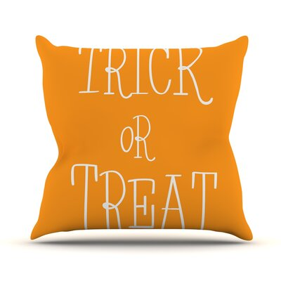 Trick or Treat Throw Pillow Size: 18 H x 18 W x 3 D, Color: White
