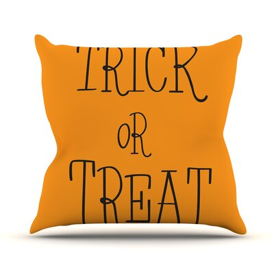 Trick or Treat Throw Pillow Size: 26 H x 26 W x 5 D, Color: Black