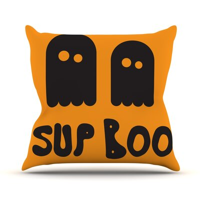 Sup Boo Throw Pillow Size: 16 H x 16 W x 3 D