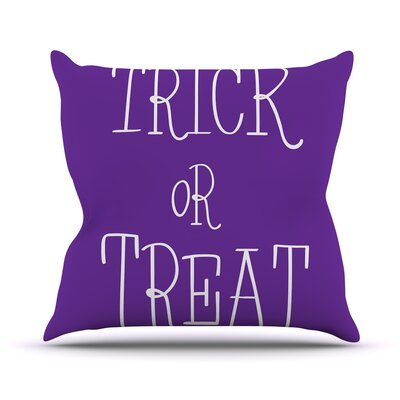 Trick or Treat Throw Pillow Size: 16 H x 16 W x 3 D, Color: Purple