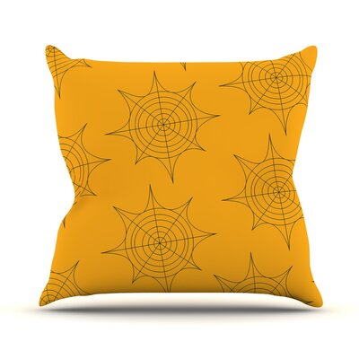 Spiderwebs Throw Pillow Size: 16 H x 16 W x 3 D, Color: Yellow
