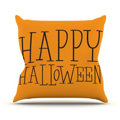 Happy Halloween Throw Pillow Size: 16 H x 16 W x 3 D, Color: Orange