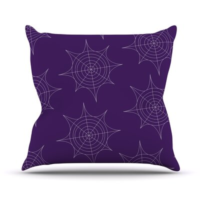 Spiderwebs Throw Pillow Size: 26 H x 26 W x 5 D, Color: Purple