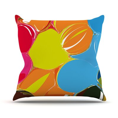 Bubbles by Matthias Hennig Rainbow Throw Pillow Size: 16 H x 16 W x 3 D