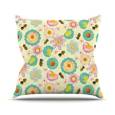Floral Bee by Louise Machado Throw Pillow Size: 26 H x 26 W x 5 D
