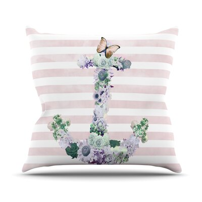 Floral Anchor by Nika Martinez Strips Throw Pillow Size: 26 H x 26 W x 5 D