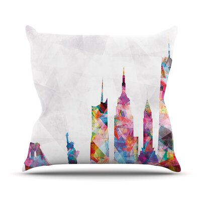 New York by Mareike Boehmer Rainbow City Throw Pillow Size: 18 H x 18 W x 3 D