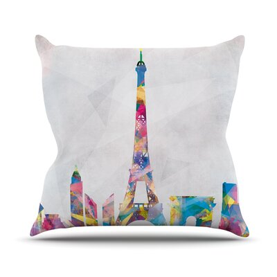 Paris by Mareike Boehmer City Rainbow Throw Pillow Size: 26 H x 26 W x 5 D