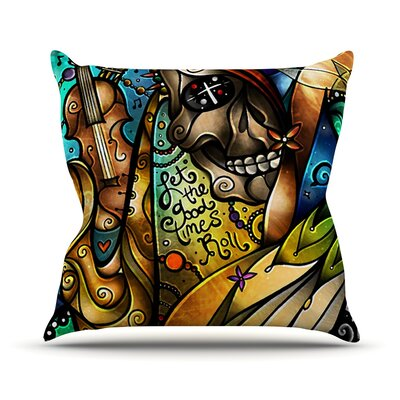 Good Times Roll by Mandie Manzano Skull Throw Pillow Size: 16 H x 16 W x 3 D