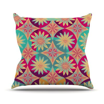 Happy Flowers by Nika Martinez Floral Abstract Throw Pillow Size: 16 H x 16 W x 3 D