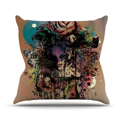 Doom and Bloom by Mat Miller Dark Rose Throw Pillow Size: 16 H x 16 W x 3 D