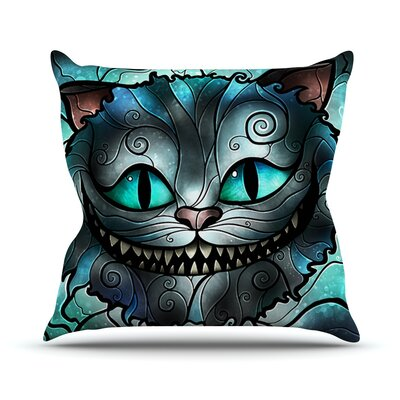Mad Chesire by Mandie Manzano Cat Throw Pillow Size: 18 H x 18 W x 3 D