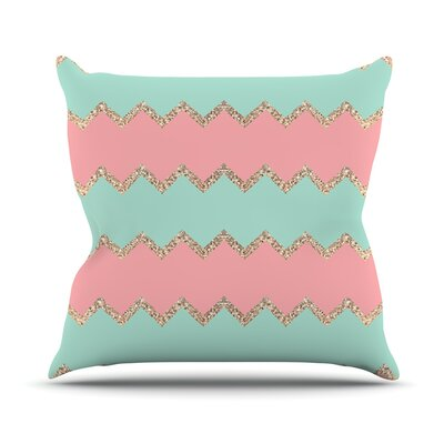 Avalon Chevron by Monika Strigel Throw Pillow Size: 16 H x 16 W x 3 D, Color: Soft Coral/Mint