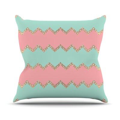 Avalon Chevron by Monika Strigel Throw Pillow Size: 18 H x 18 W x 3 D, Color: Soft Coral/Mint