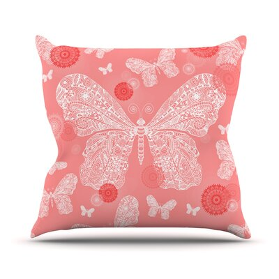 Butterfly Dreams by Monika Strigel Throw Pillow Size: 26 H x 26 W x 5 D, Color: Coral