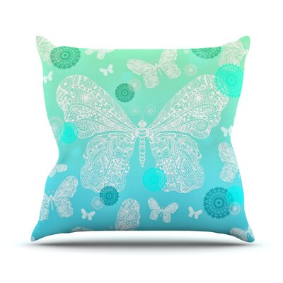 Butterfly Dreams by Monika Strigel Throw Pillow Size: 18 H x 18 W x 3 D, Color: Mint