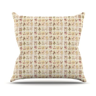 Cute Birds by Marianna Tankelevich Throw Pillow Size: 16 H x 16 W x 3 D, Color: Tan