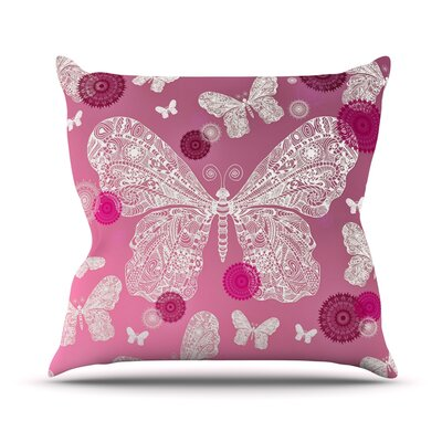 Butterfly Dreams by Monika Strigel Throw Pillow Size: 26 H x 26 W x 5 D, Color: Pink Ombre