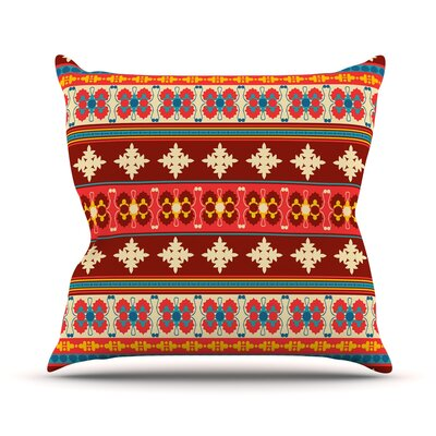Borders by Nandita Singh Throw Pillow Size: 18 H x 18 W x 3 D, Color: Red