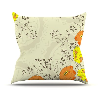 Flowers and Twigs by Nandita Singh Throw Pillow Size: 18 H x 18 W x 3 D
