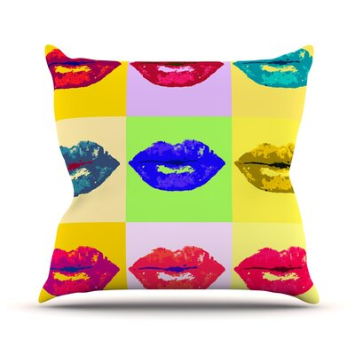 Pop Kiss by Oriana Cordero Rainbow Lips Throw Pillow Size: 18 H x 18 W x 3 D