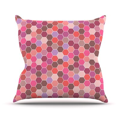 Blush Stripes by Nandita Singh Tiled Throw Pillow Size: 18 H x 18 W x 3 D