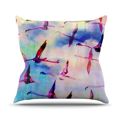 Flamingo in Flight Throw Pillow Size: 26 H x 26 W