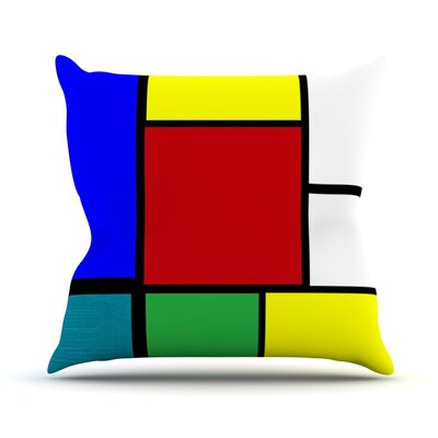 Mondrian and Me by Oriana Cordero Squares Throw Pillow Size: 16 H x 16 W x 3 D