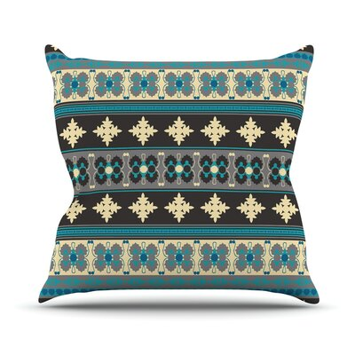 Borders by Nandita Singh Throw Pillow Size: 16 H x 16 W x 3 D, Color: Blue