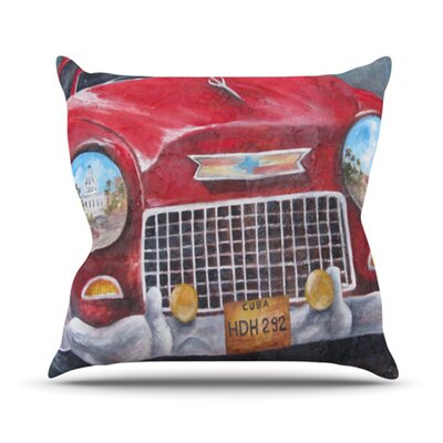 Vintage in Cuba Throw Pillow Size: 16 H x 16 W