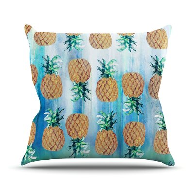 Pineapple Beach by Nikki Strange Throw Pillow Size: 26 H x 26 W x 5 D