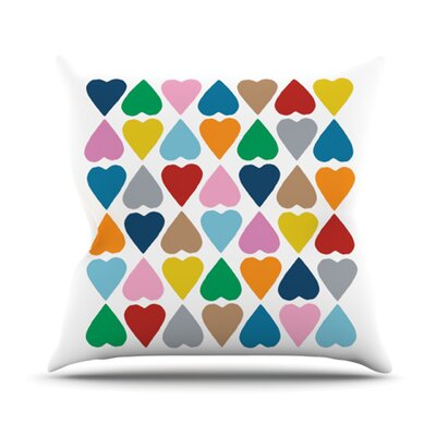 Diamond Hearts Throw Pillow Color: Multi, Size: 18 H x 18 W
