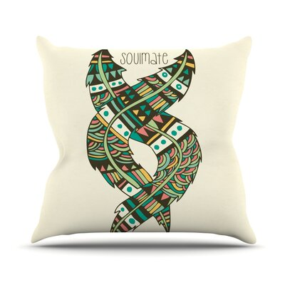 Soulmate Feathers by Pom Graphic Throw Pillow Size: 18 H x 18 W x 3 D