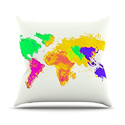 My World by Oriana Cordero Rainbow Map Throw Pillow Size: 18 H x 18 W x 3 D
