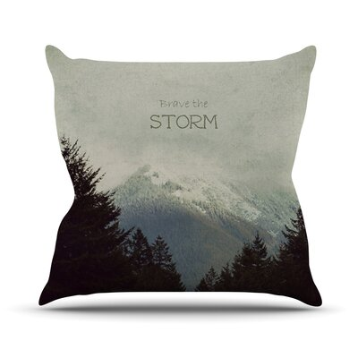 Brave The Storm by Robin Dickinson Snow Mountain Throw Pillow Size: 16 H x 16 W x 3 D