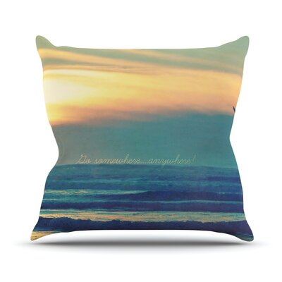 Go Somewhere by Robin Dickinson Throw Pillow Size: 20 H x 20 W x 4 D