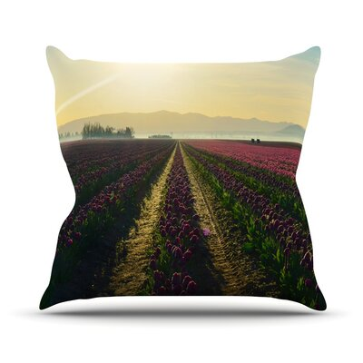 Here Comes The Sun by Robin Dickinson Flower Landscape Throw Pillow Size: 16 H x 16 W x 3 D