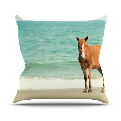 Wild Mustang of Carova by Robin Dickinson Horse Ocean Throw Pillow Size: 20 H x 20 W x 4 D