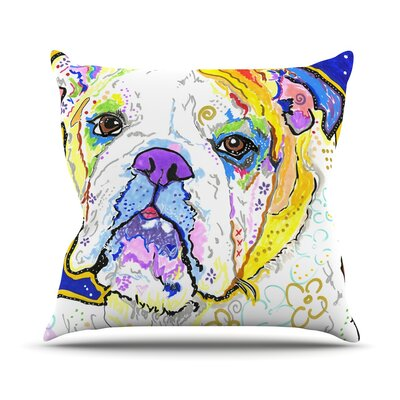 Mavis by Rebecca Fischer Bull Dog Throw Pillow Size: 16