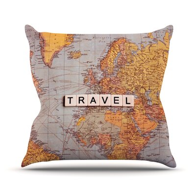 Travel Map by Sylvia Cook World Throw Pillow Size: 16 H x 16 W x 3 D