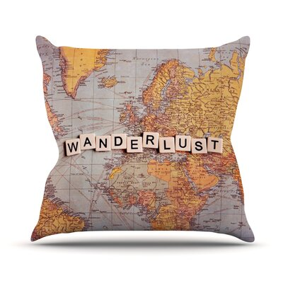 Wanderlust Map by Sylvia Cook World Throw Pillow Size: 26 H x 26 W x 5 D