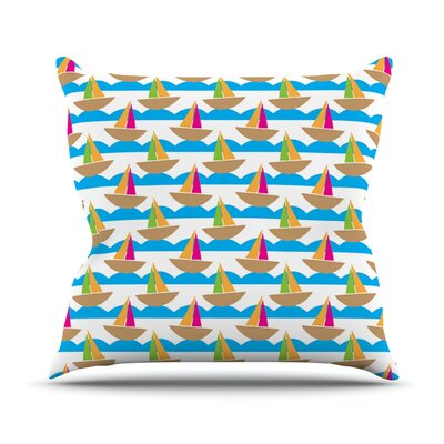 Beside the Seaside by Apple Kaur Designs Boats Throw Pillow Size: 18 H x 18 W x 3 D