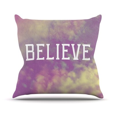 Believe by Rachel Burbee Clouds Throw Pillow Size: 16 H x 16 W x 3 D