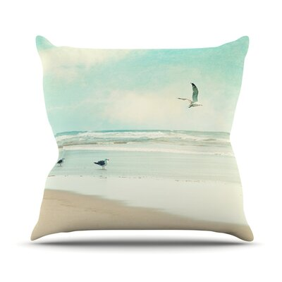 Away We Go by Sylvia Cook Beach Seagull Throw Pillow Size: 18 H x 18 W x 3 D